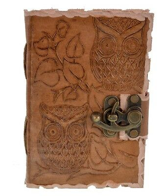 Leather Owl Emboss With Lock Handmade Handsewn Diary Journal Deckledge Notebook