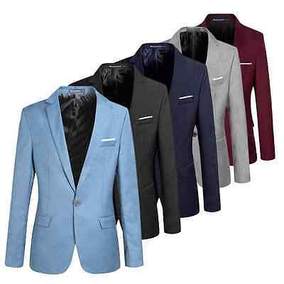 Man One Button Casual Formal Blazer Suit Business Trench Slim Fit Jacket Coat