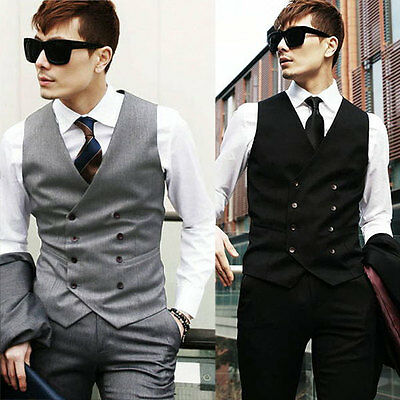 Mens Double breasted Slim Fit Suit Tuxedo Dress Vest Waistcoat Luxury Top