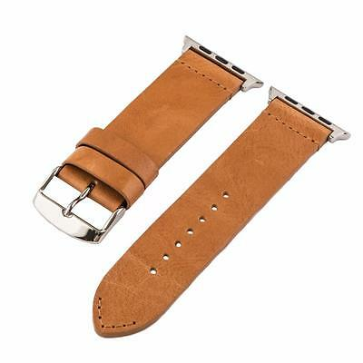 Clockwork Synergy® Vintage Saddle Leather SS Watch Bands for 42mm Apple Watch