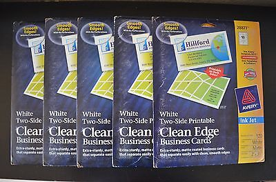 (5-PACK)  Avery White Two-Sided Printable Clean Edge Business Cards 28877 120 ct