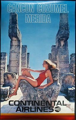 CONTINENTAL AIRLINES CANCUN COZUMEL Vintage 1974 Travel poster 26x40