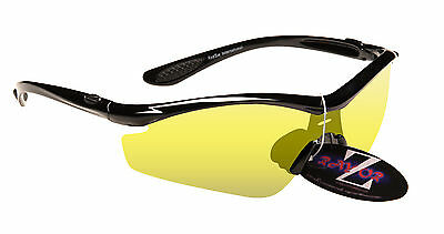RayZor Black Uv400 Light Enhancing Cricket Sunglasses - Clear Yellow Lens RRP£49