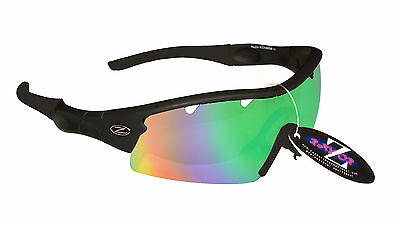 RayZor Black Uv400 Vented Blue Green Mirrored Lens Cricket Sunglasses RRP£49