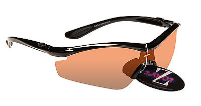 RayZor Black Frame Light Enhancing Cricket Sunglasses Clear Amber Lens RRP£49