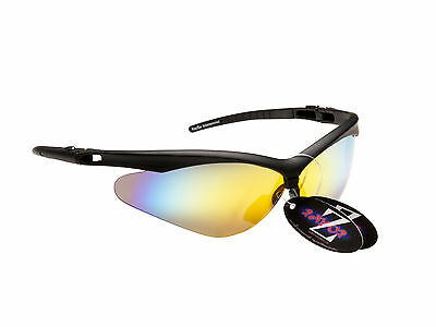 RayZor 37 Uv400 Black Framed Gold Mirrored Lens Cricket Sports Sunglasses RRP£49