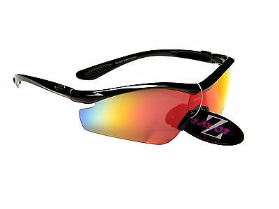 RayZor Pro Uv400 Black Cricket Sports Wrap Sunglasses Red Mirrored Lens RRP£49