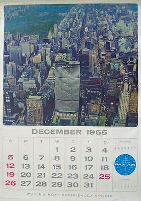 PAN AM AIRWAYS AIRLINES CALENDAR 1966 Vintage 13 pages TRAVEL poster 17x24