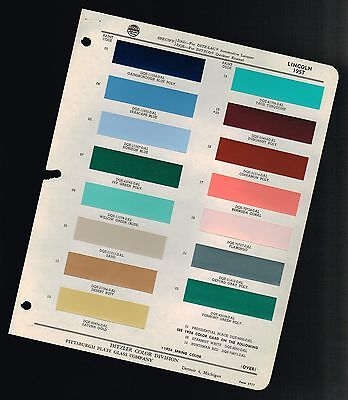 1957 LINCOLN Color Chip Paint Sample Brochure / Chart: PPG