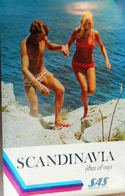 SAS AIRLINES YOUNG SCANDINAVIA Vintage Travel poster 1971 NM