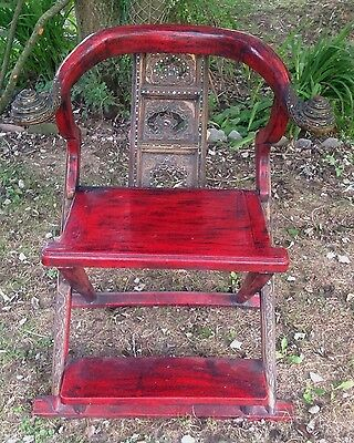 Indian Arm Chair With Jewels. Vintage, Red. Foot Rest