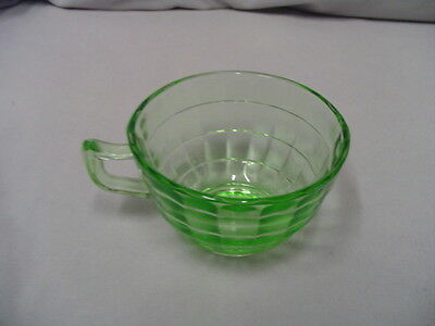 """Block Optic 2 Green Cups 2"""" Tall 3.5"""" Across Tops Vintage"""