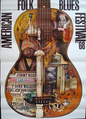 AMERICAN FOLK AND BLUES 1968 German A0 33x47 concert poster GUNTHER KIESER sign