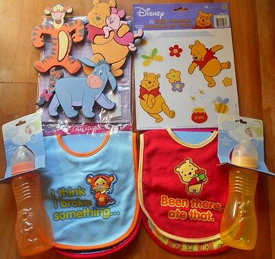 New Disney Baby Boy Winne The Pooh Tigger Bibs Bottles wall window decorations