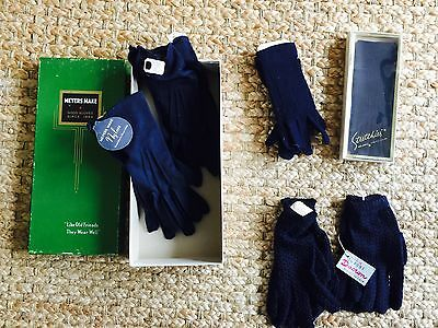VINTAGE 6 PAIR NOS Ladies Stretch Navy Gloves  Meyers Made 6.5 Stretchies Italy