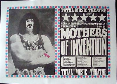 FRANK ZAPPA 1968 German A1 concert poster GUNTHER KIESER LINEN BACKED VERY RARE