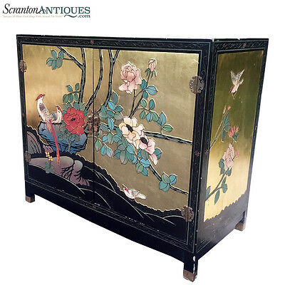 "Large Antique Chinese Asian Hand Painted Gold Flake Cabinet ""Birds of Paradise"""