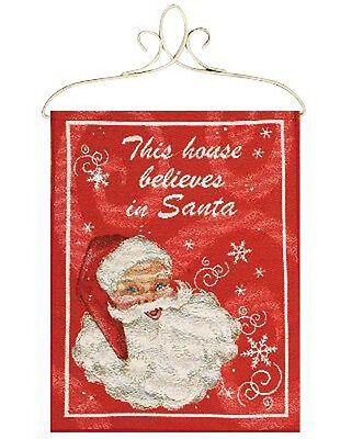 This House Believes In Santa ~ Christmas Tapestry Bannerette Wall Hanging