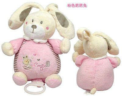 Pink Bunny Lullaby Melody comfort soothing plush musical box baby toy bed bell