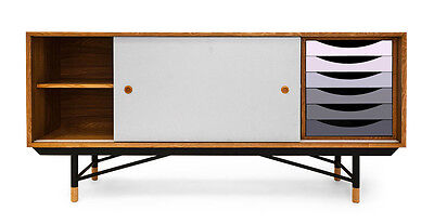 1955 Color Theory Mid-century Modern Sideboard Credenza, Natural/Grey Drawers