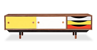 Kardiel Color Theory Mid-century Modern Sideboard Credenza, Walnut/Yellow