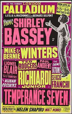 SHIRLEY BASSEY Vintage 1962 LONDON concert poster VERY RARE (Not a repro)