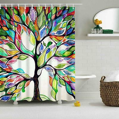 Fabric Colorful Tree Pattern Waterproof  Bathroom Shower Curtain With 12 Hooks