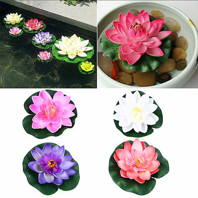 Aquarium Artificiel Lotus Faux Nénuphar Plante Flottant Plastique Ornement Décor