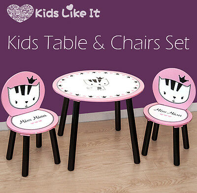 NEW Kids GIRLS Wooden Pink PRINCESS KITTY Cat Oval TABLE & 2 CHAIR SET GIFT