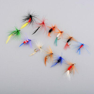 Set Of 12pcs Various Dry Fly Hooks Tool Fishing Trout Flies Fish Hook Lures NEW