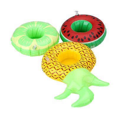 3Pcs Swim Boat Inflatable Water Fruit Cup Floating Drink Coke Can Holder Pool