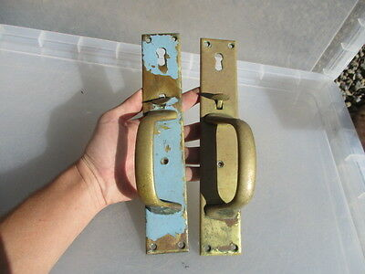 Antique Brass Latched Door Handles Pulls Architectural Reclaim Vintage Old Pair