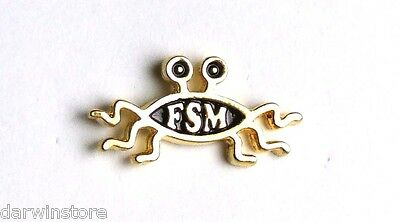 FSM Flying Spaghetti Monster Pastafarian Lapel Pin  (gold effect)