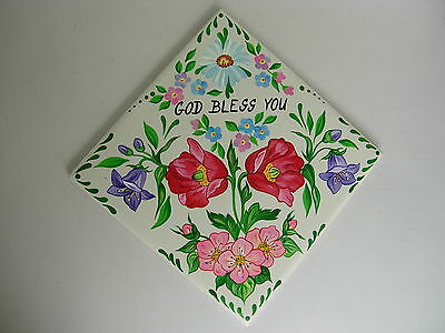 GOD BLESS YOU  ORIGINALLY HANDPAINTED TILE for your home
