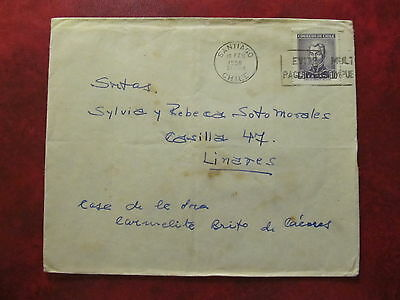 1959 - Chile - Old Cover - From Santiago De Chile To Linares