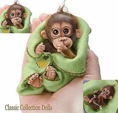 "Ashton Drake ""LOVE YOU BUNCHES"" - 4"" MINIATURE BABY MONKEY DOLL IN RESIN - NEW"