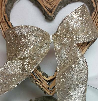 1m x 65mm WIRED,SHEER, GOLD GLITTER SPARKLY CHRISTMAS RIBBON FLORAL,CAKE, TREE