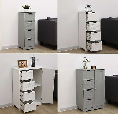 WestWood White Wooden 4 Drawer Bathroom Storage Cupboard Cabinet Standing Unit