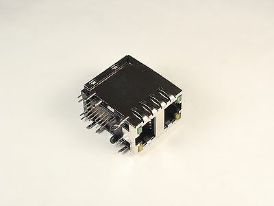 6368011-3 Tyco Electronics Modular Jack Connector Ethernet 2 Port G/Y LEDs 8 Pos