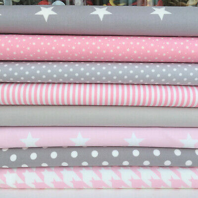 8 fat quarter fabric  bundle grey & pink baby girl mix 100 % cotton poplin