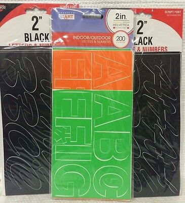 Numbers & Letters Mixed Lot Of Vinyl Adhesive ~ Black & Fluorescent ~ Ships Free
