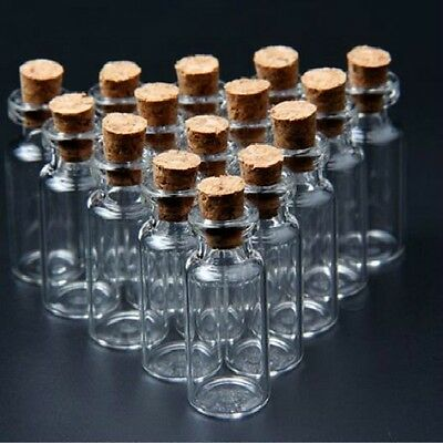 100Pc Mini Clear Cork Stopper Glass Bottles Vials Jars Container Small Wholesale