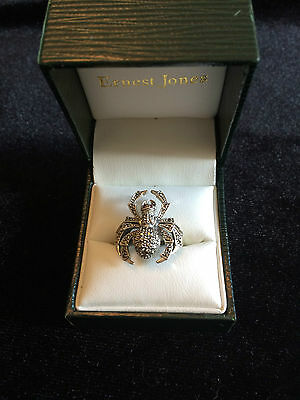 Solid Silver And Marcasite Spider Ring Stamped 925 Red Stone Eyes Possibly Ruby