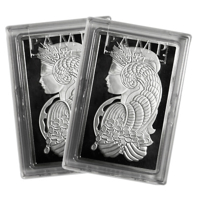 Lot of 2 - 10 Troy oz Pamp Suisse .999 Fine Silver Bar Fortuna
