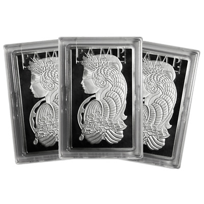 Lot of 3 - 10 Troy oz Pamp Suisse .999 Fine Silver Bar Fortuna