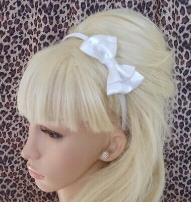 """Small White Satin Fabric 3"""" Double Side Bow Alice Hair Head Band Wedding Bridal"""