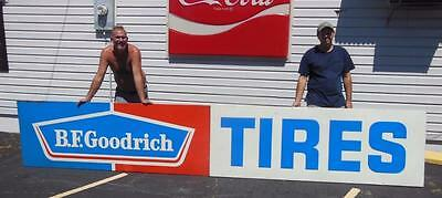 B.f. Goodrich Tires 2 Pc Tin Embossed Advertising Sign Gas Service Garage