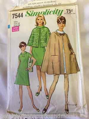Vintage Original Simplicity 7544; ©1968; Misses' Cape and Dress in Two Lengths
