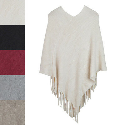 Premium Solid Color Soft Knit Pullover Winter Fringe Poncho Shawl Wrap Cape