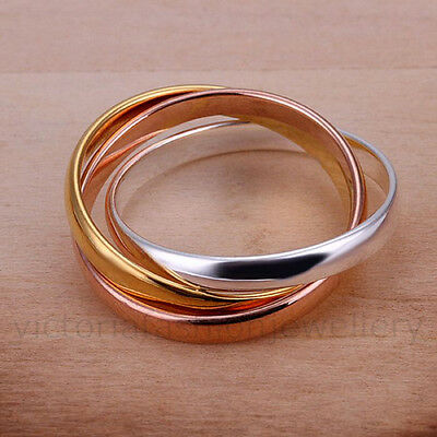 Gold/ Silver/ Rose Plated TRIPLE BAND RING/Thumb Ring UK Size:L1/2-T1/2  US:6-10